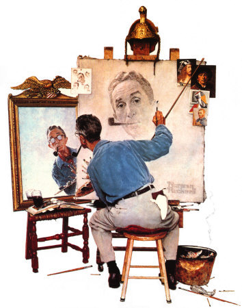 Norman-Rockwell---Triple-Self-Portrait-Poster-Card-C10230690